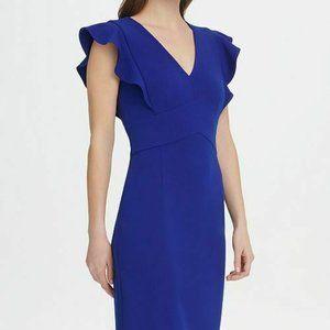 DKNY v-neck blue ruffle sleeve sheath dress